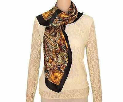New Printed Women Fashion Silk Paisley Long Soft Satin Scarf Wrap Shawl Stole