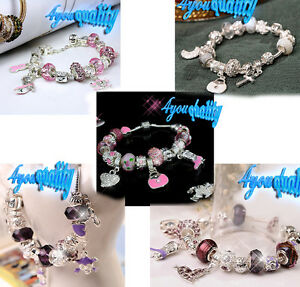 Silver-Finished-Bracelet-W-Crystal-Heart-17-19-Charms-Fashion-For-Womens-Girls