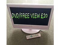 Pink TV/DVD player