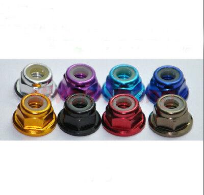 (M5 5mm Aluminum Flanged Nylon Lock Nut X 10 Green Blue Red Gold Pink purple)