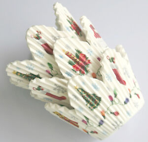 Christmas 75pcs Petal Muffin Cupcake Paper Cases Liners Cups New