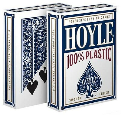 1 Deck Hoyle 100% Plastic Standard Poker Playing Cards Blue Brand New Deck