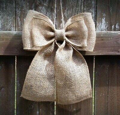 Burlap Bow Rustic Wedding Pew Bow Wreath Bow Decorative Burlap Bows ()