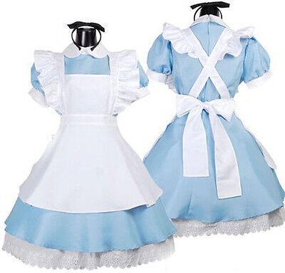 Girls Maid Lolita Blue Apron Dress Headwear Costume For Halloween Cosplay Party - Maid Costumes For Girls