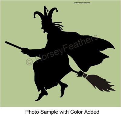 New-Flying Witch STENCIL~Bigger Sizes Halloween Broom Wicked DIY UPick UPaint  - Diy Witch Broom