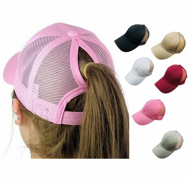 NEW Breathable cool High Bun Ponytail Adjustable Mesh Trucker Baseball Cap Hat Clothing, Shoes & Accessories