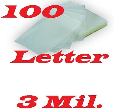 Letter Size 100 pack Laminating Pouches Sheets 9 x 11-1/2  3 Mil