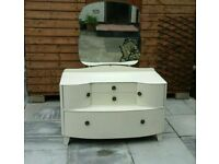 Shabby chic 3 piece bedroom furniture set with dressing table, drawers and tallboy