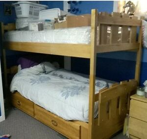 Solid Birch Twin Bunk Bed Set + Two Matching Dressers