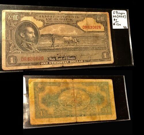 ETHIOPIA 1945 1 DOLLAR CIRCULATED BANKNOTE