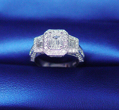 Natural 1.95Ct Micro Pave ArtDeco Emerald Cut Diamond Engagement Ring D,VS1 GIA