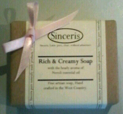 3 x Sinceris NATURAL Soap Bars.Rich & Creamy.Neroli Essential Oil.H/M.FACE/BODY