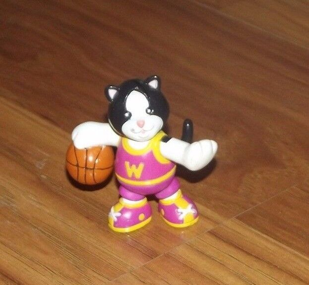 """GANZ MINI WEBKINZ CAT WITH BASKETBALL 2"""" PVC TOY ACTION FIGURE USED"""
