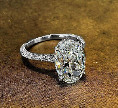 Natural Oval Cut 3.10 Ct Micro Pave Diamond Engagement Ring with Pave H SI1 14k