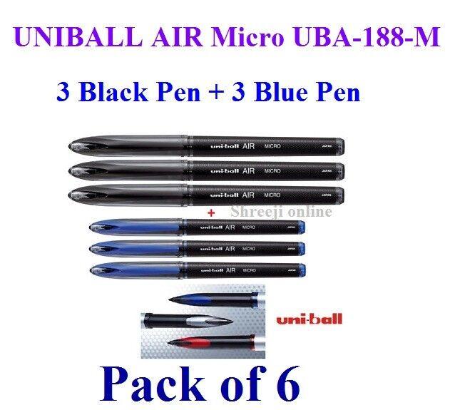 6 x UNIBALL AIR Micro UBA-188-M ROLLER BALL PEN 0.5 mm Blue MITSUBISHI GENUINE