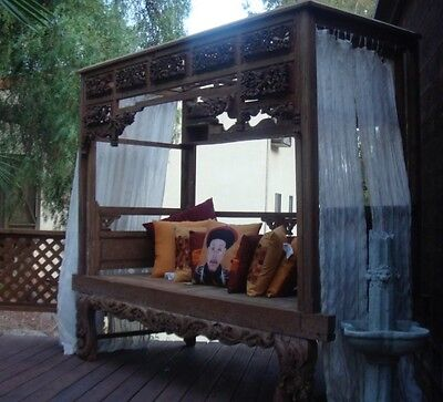 Hard to Find Authentic Hand-Carved Antique Chinese-Indonesian Canopy Bed