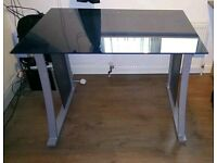 Heavy blue glass and grey desk