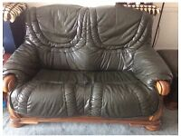 2 Seater & 1 Seater leather sofa's + Foot Stool (MUST GO QUICKLY)