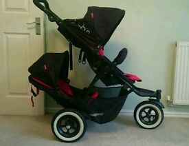 Phil & Teds dot double pushchair with cocoon