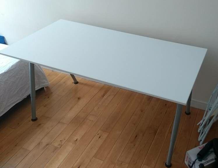White ikea thyge desk cm adjustable height in paddington