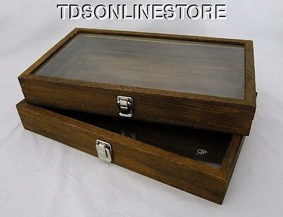 Rustic Wood Glass Top Display Cases Antique Brown Color Package Of 2