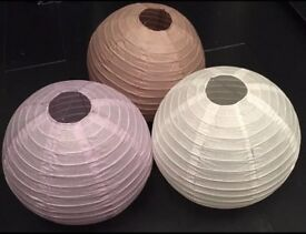 PAPER BAMBOO LANTERNS 40 IN TOTAL 3 COLOURS BRAND NEW