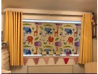 Beautiful Kids Curtain Company blackout roller blind Animals Nursery marching cushions