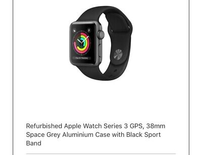 Apple Watch Series 3 38mm Space Grey Aluminium Case with Black Sport Band (GPS +