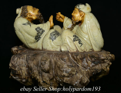 """10.8"""" Chinese Natural Shoushan Stone Two Old Man Propose a toast Drink Statue"""