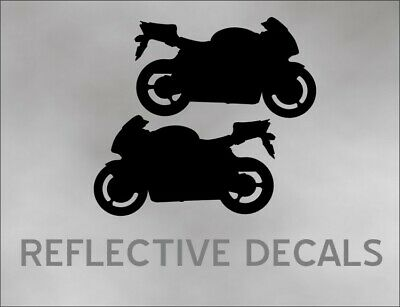 REFLECTIVE PAIR DECAL CBR Motorcycle for crotch rocket sport bike trailer BLACK