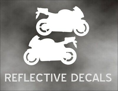 REFLECTIVE PAIR DECAL CBR Motorcycle for crotch rocket sport bike trailer WHITE