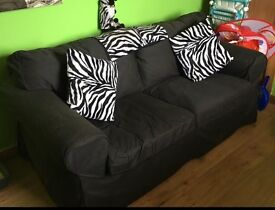 Black 2 seater sofa material
