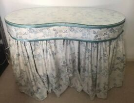 VINTAGE 1950'S KIDNEY SHAPED SOLID WOOD DRESSING TABLE JOHN LEWIS CURTAINS