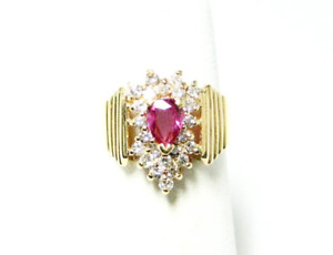 14K YELLOW GOLD WIDE RING w/ PEAR SHAPED RUBY & DIAMONDS- 1CTW