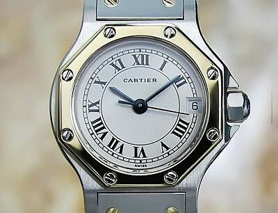 Cartier  Santos Watch Solid 18K Gold Bezel Women's Cartier WATCH Beautiful