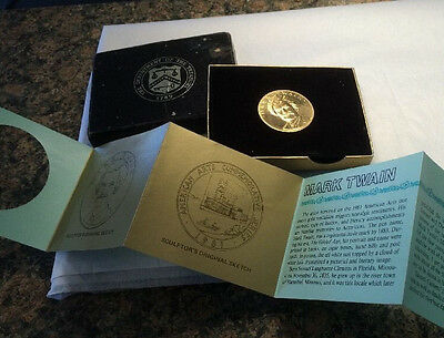 1981 Mark Twain American Arts One Ounce Gold Coin Medal With Box And COA - $1,625.00