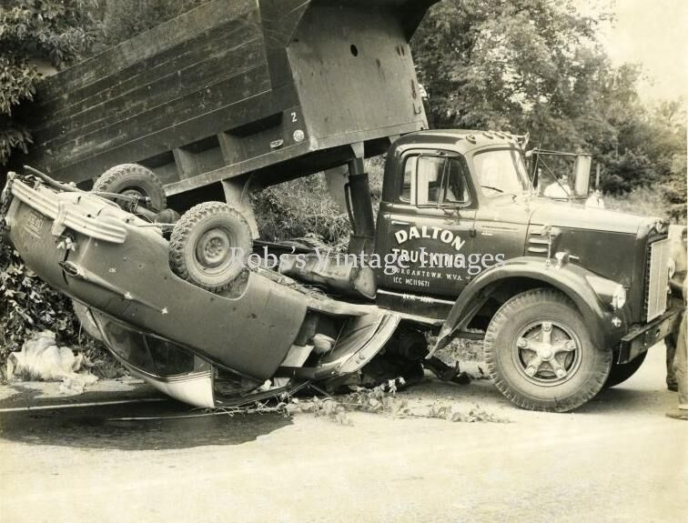 Vintage Old Car Truck Wreck West Virginia Flipped Rollover 1950s photo