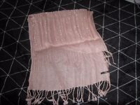 Jane Norman pink and sequin scarf, a few snags