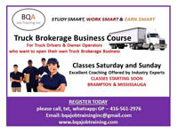 TRUCK BROKERAGE BUSINESS COURSE STARTING IN BRAMPTON SOON