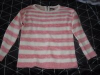 M & Co size 12 peachy/pink and cream striped jumper, never worn