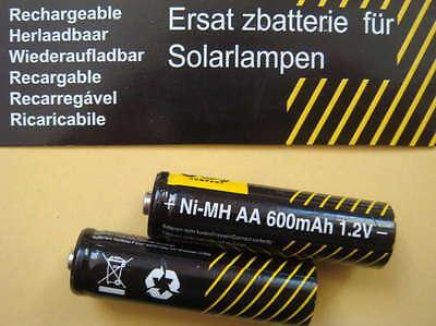 2 x Akku Mignon AA Ni-MH 600mAh für SOLAR - LEUCHTEN  Aa Solar Akku