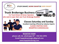 TRUCK BROKERAGE BUSINESS COURSE STARTING IN BRAMPTON