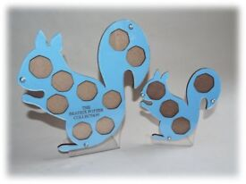 Beatrix Potter 50p Coin Collection Holders Large and Small Squirrel Nutkin Blue