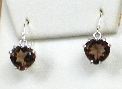STERLING SILVER SMOKEY QUARTZ 10MM HEART SHAPE  8CTW  !