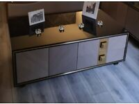 Homary 'Dewion' Modern Black and Gold double sided coffee table unit