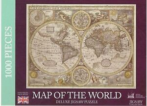 MAP OF THE WORLD 1000 DELUXE FLAT JIGSAW PUZZLE - ROYAL MUESUMS GREENWICH