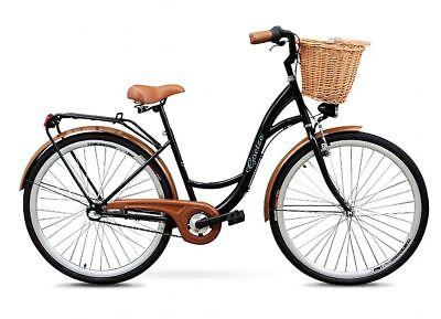 Polbaby Goetze Schwarz Weidenkorb 28 Zoll Fahrrad Citybike Bike Retro Klassik