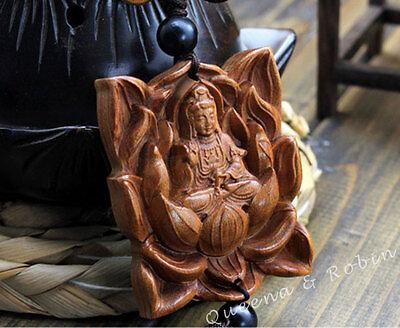 Wood Carving Lotus Guan Kwan Yin Buddha Statue Car Pendant Amulet Wooden Hanger