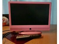 Lcd TV pink. hdmi. freeview. dvd player.