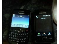 BlackBerry and samsung gt
